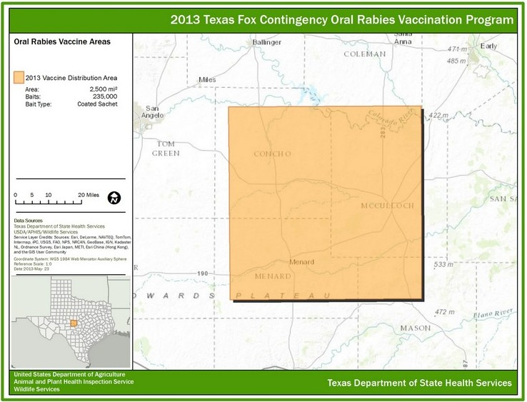 Rabies Control Zone in Texas