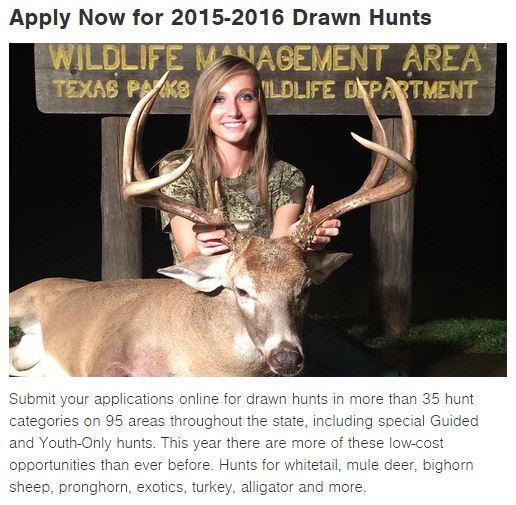 TPWD Draw Hunts Texas