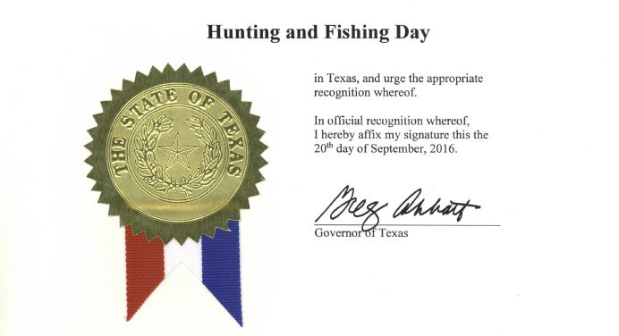National Hunting and Fishing Day in Texas