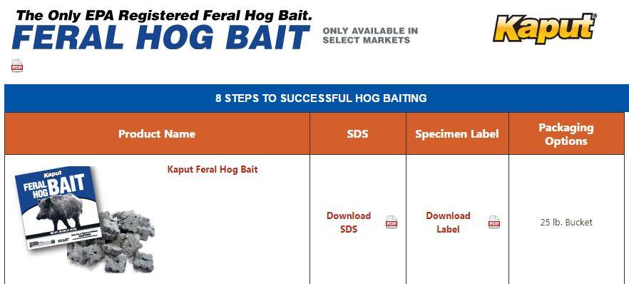 Kaput Hog Bait Texas