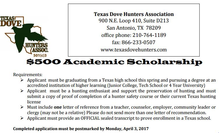 Texas Dove Hunters Scholarship